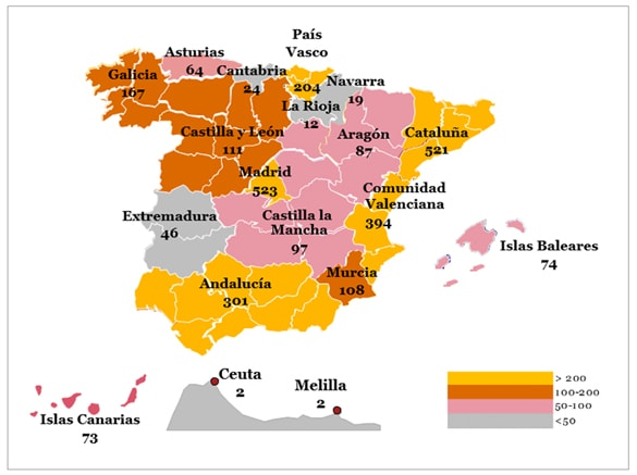 Distribución geográfica de los concursos de empresas publicados entre enero y septiembre de 2017