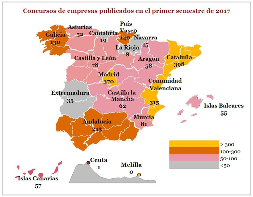 Distribución geográfica de los concursos de empresas publicados en 2017